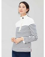 Joules Saunton Funnel Neck Sweatshirt, Cream Navy Stripe 208814