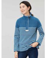 Joules Saunton Salt Wash Funnel Neck Sweatshirt, Blue Cream Stripe