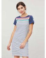 Joules Riviera Jersey Dress, Blue Border Stripe