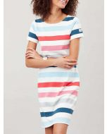 Joules Riviera Short Sleeve Jersey Dress, Cream Pink Stripe 210388