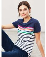 Joules Carley Classic Crew Neck Jersey Top, Blue Border Stripe