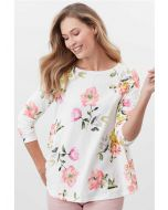 HARBOUR LIGHT SWING LONG SLEEVE JERSEY TOP | 213643 | CREAM FLORAL
