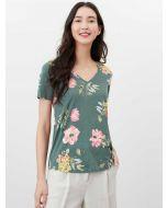 Joules Celina Print V Neck T-Shirt - Green Floral | 213754
