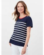JOULES CARLEY FRENCH NAVY CREAM STRIPE CLASSIC CREW T-SHIRT | 213876