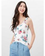 Joules Annika Print Scoop Neck Jersey Vest - Cream Floral | 214881