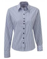 Grenouille Women's Blue and White Stripe Relaxed Fit Cotton Shirt
